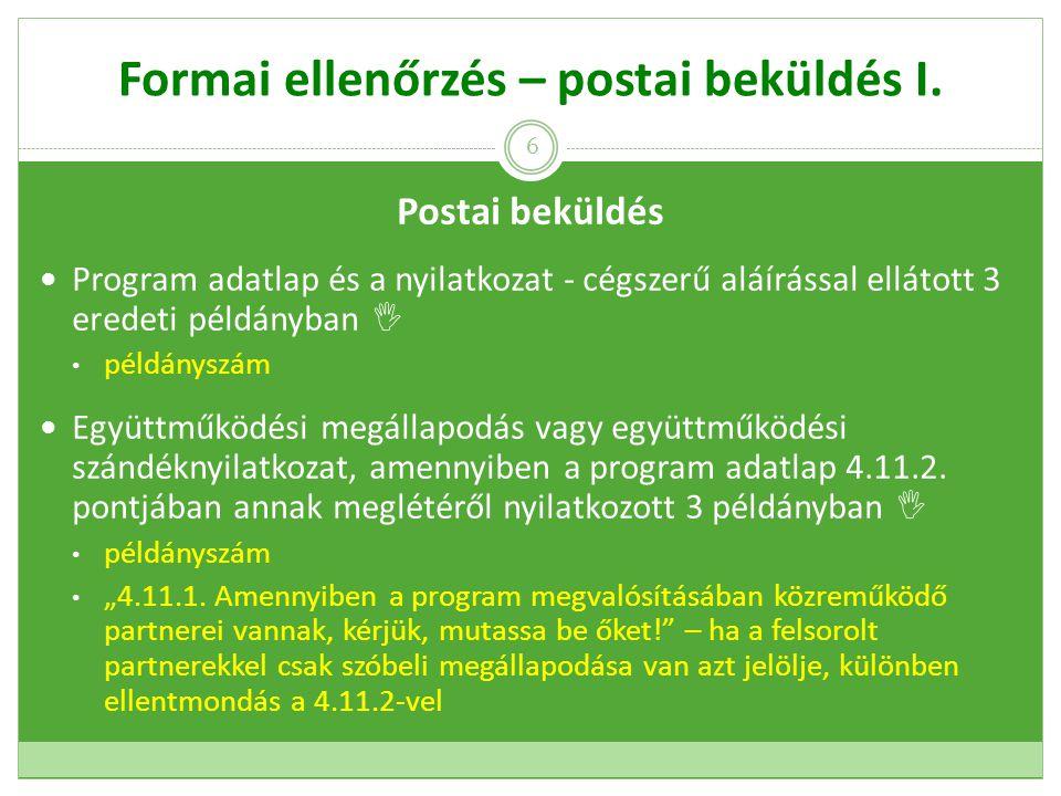 Formai ellenőrzés – postai beküldés I.