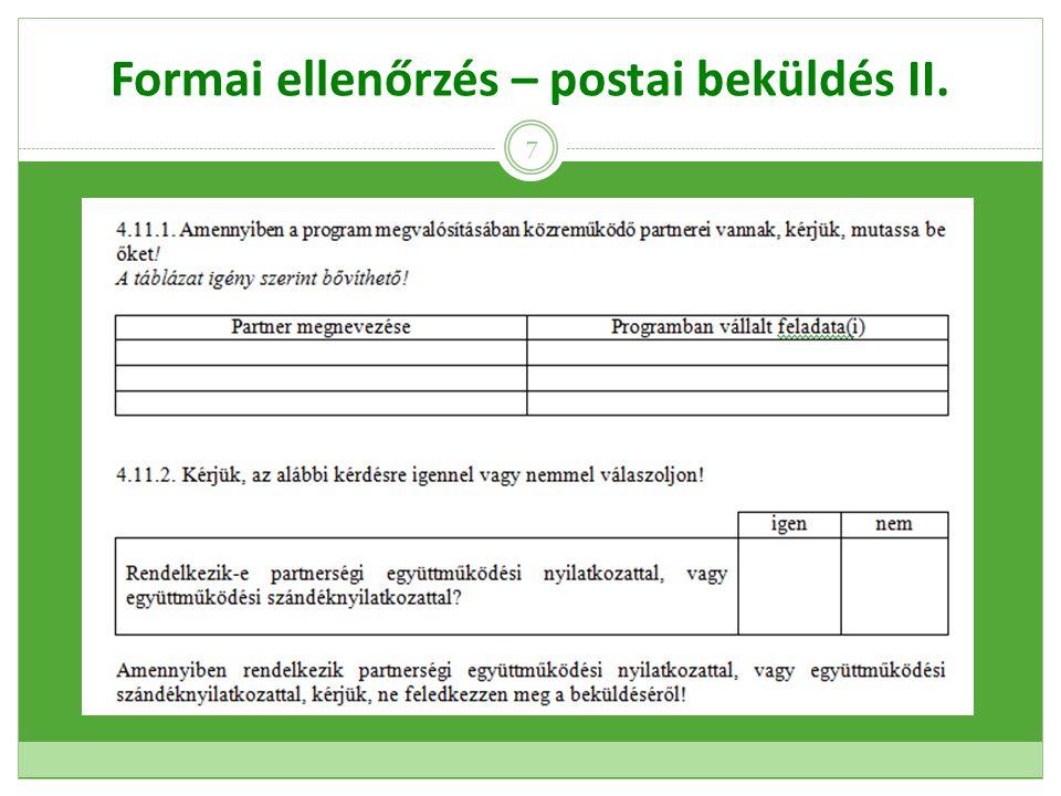 Formai ellenőrzés – postai beküldés III.