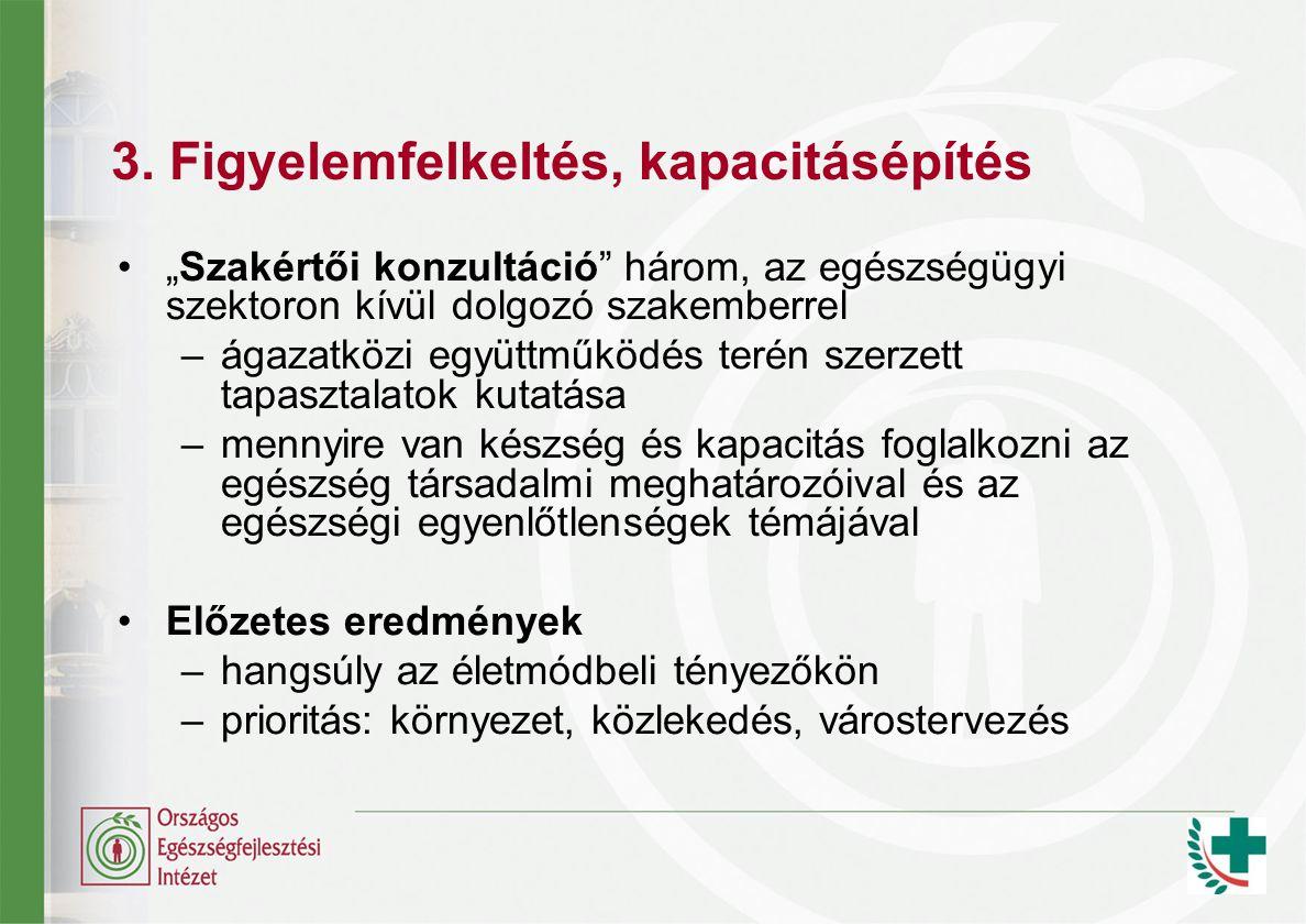 """3. Figyelemfelkeltés, kapacitásépítés """"Szakértői konzultáció"""" három, az egészségügyi szektoron kívül dolgozó szakemberrel –ágazatközi együttműködés te"""