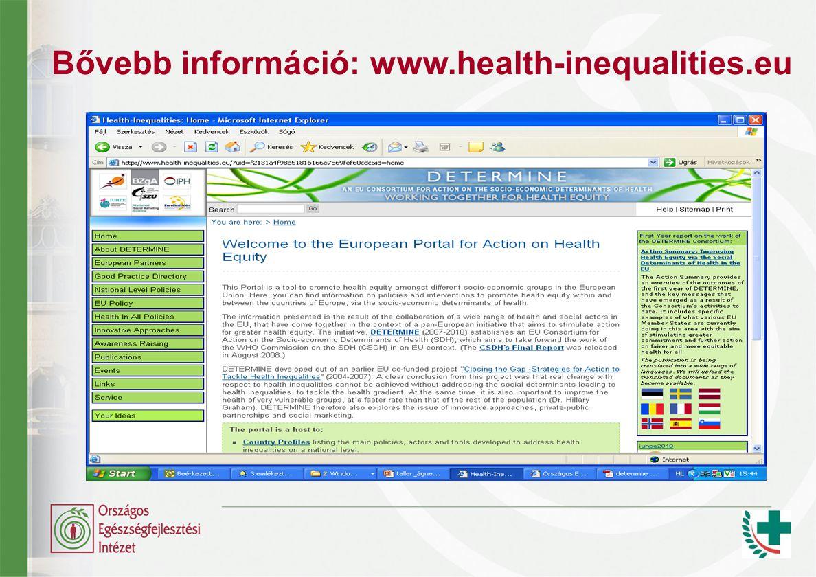 Bővebb információ: www.health-inequalities.eu