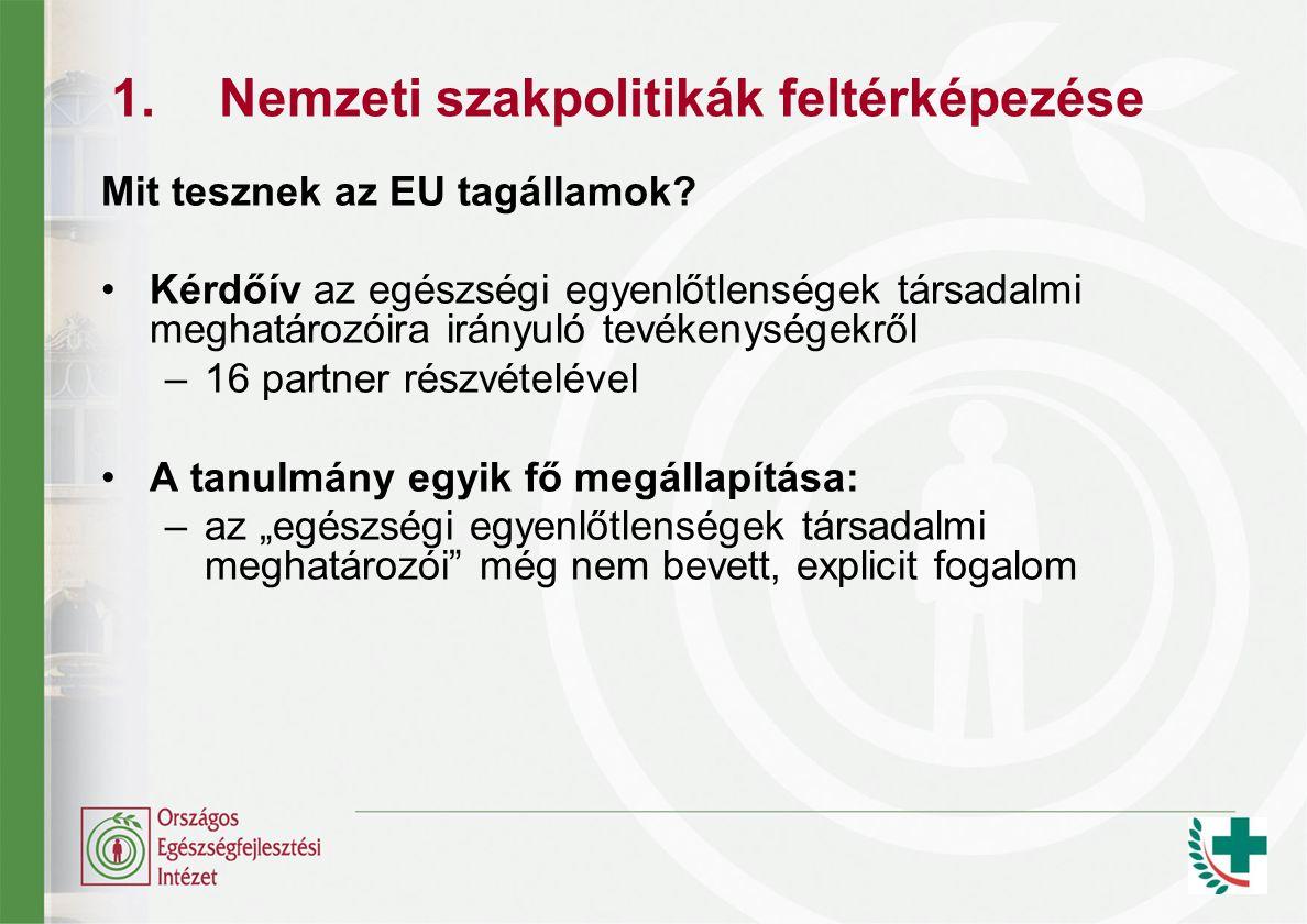 1.Nemzeti szakpolitikák feltérképezése Mit tesznek az EU tagállamok.