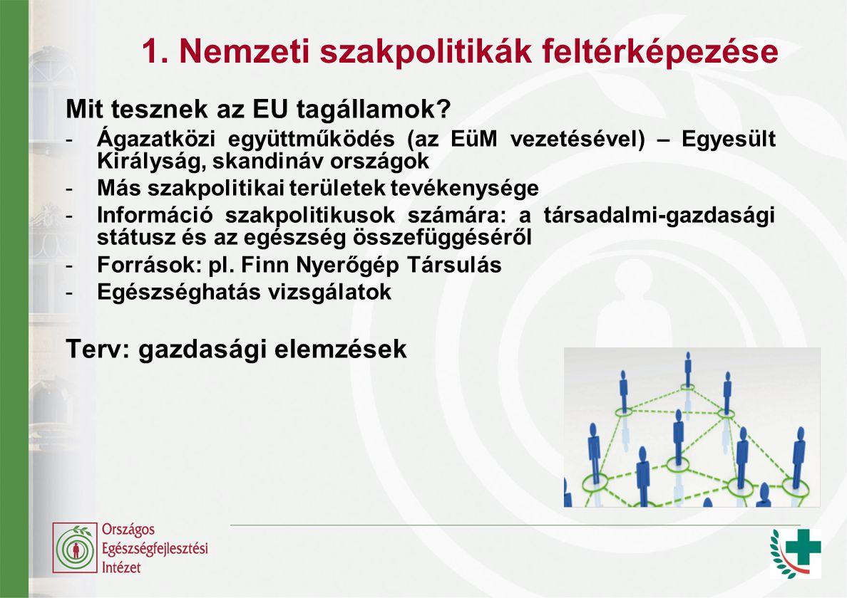 1. Nemzeti szakpolitikák feltérképezése Mit tesznek az EU tagállamok.