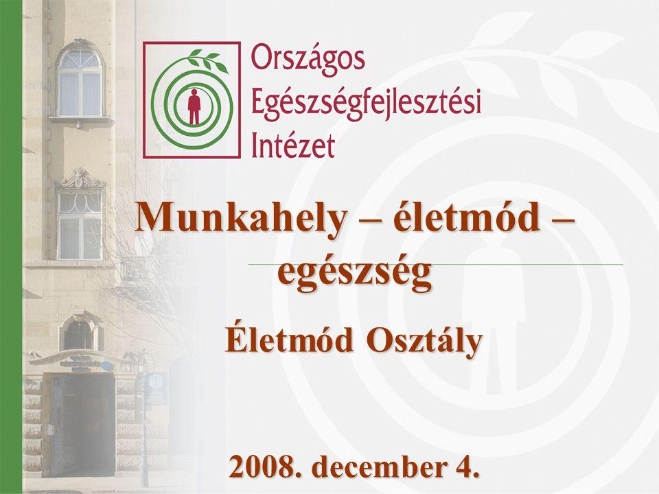 Munkahely – életmód – egészség Életmód Osztály 2008. december 4.