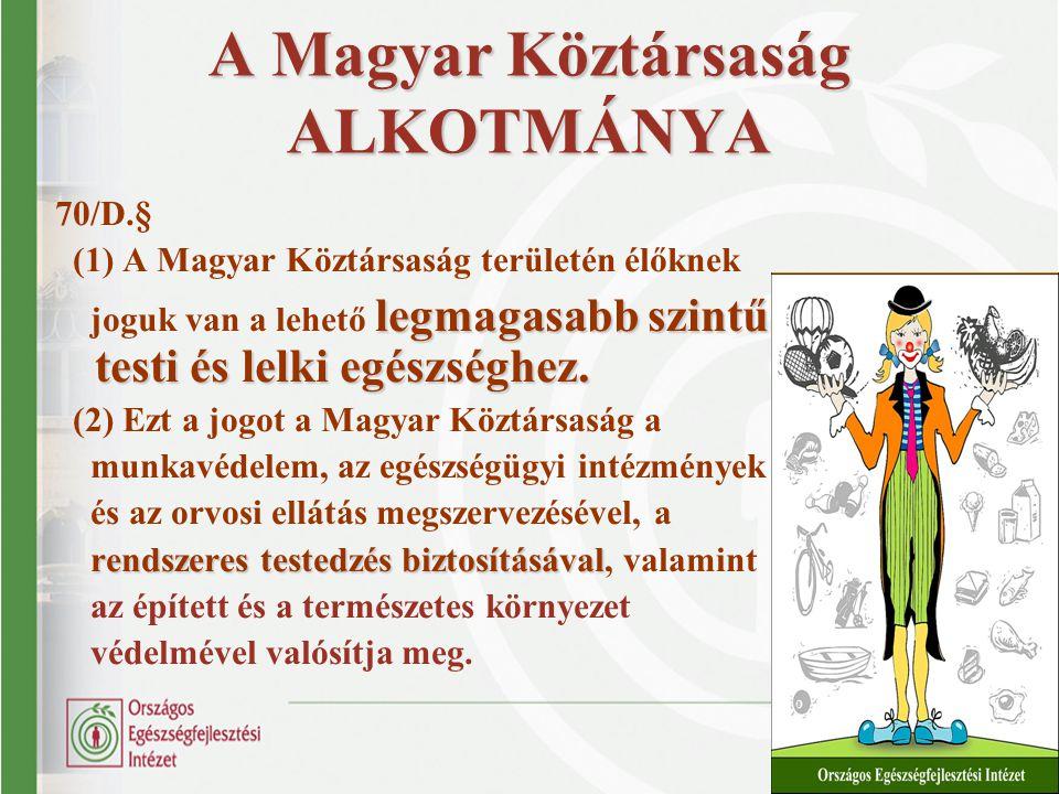 A Magyar Köztársaság ALKOTMÁNYA 70/D.§ (1) A Magyar Köztársaság területén élőknek legmagasabb szintű testi és lelki egészséghez. joguk van a lehető le