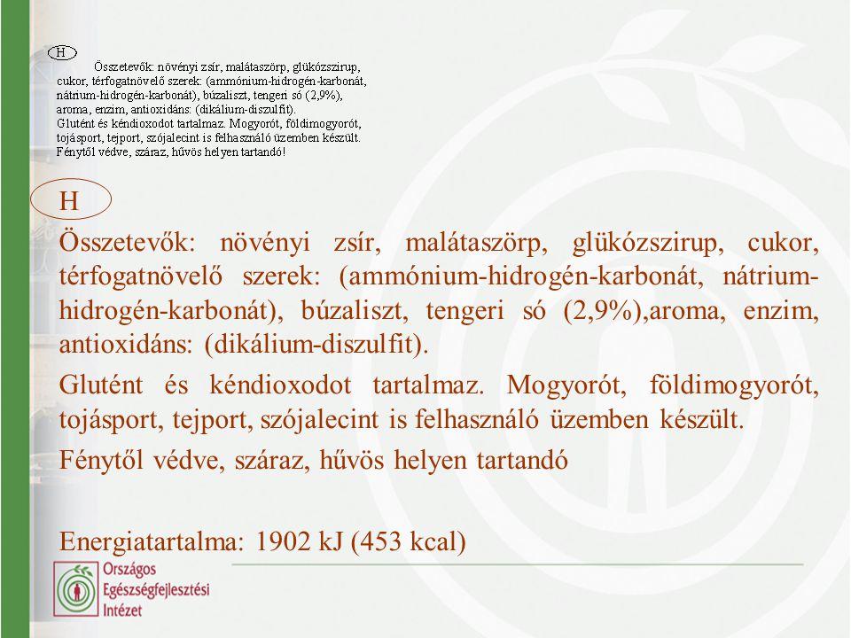 H Összetevők: növényi zsír, malátaszörp, glükózszirup, cukor, térfogatnövelő szerek: (ammónium-hidrogén-karbonát, nátrium- hidrogén-karbonát), búzalis