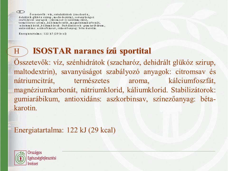 ISOSTAR narancs ízű sportital H ISOSTAR narancs ízű sportital Összetevők: víz, szénhidrátok (szacharóz, dehidrált glükóz szirup, maltodextrin), savany