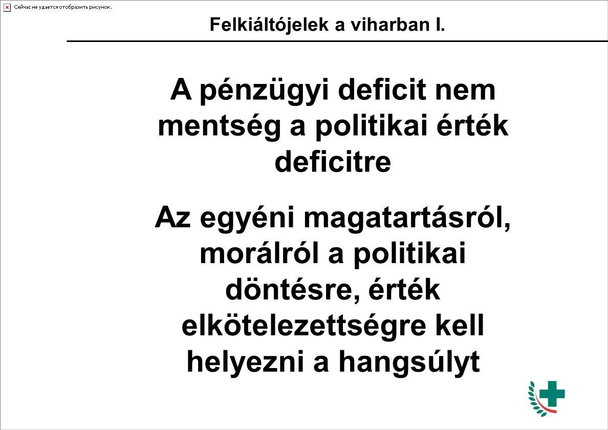 Felkiáltójelek a viharban I. A pénzügyi deficit nem mentség a politikai érték deficitre Az egyéni magatartásról, morálról a politikai döntésre, érték