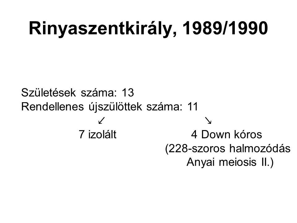 Rinyaszentkirály, 1989/1990 Születések száma: 13 Rendellenes újszülöttek száma: 11 ↙ ↘ 7 izolált 4 Down kóros (228-szoros halmozódás Anyai meiosis II.