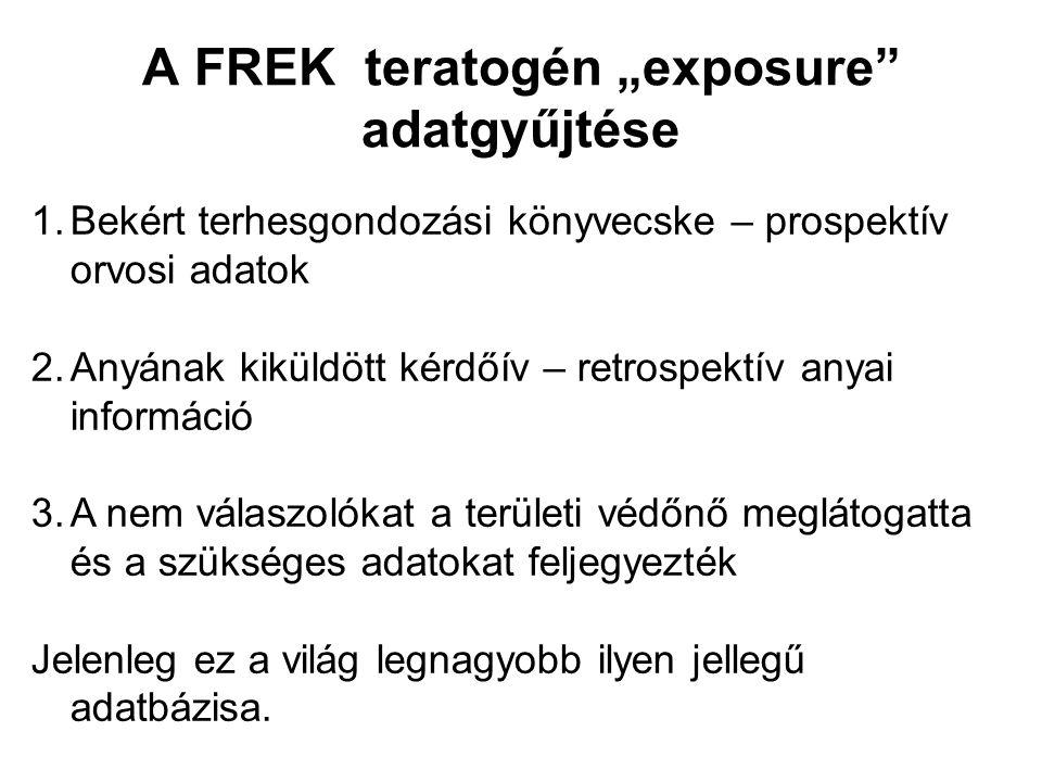 """A FREK teratogén """"exposure"""" adatgyűjtése 1.Bekért terhesgondozási könyvecske – prospektív orvosi adatok 2.Anyának kiküldött kérdőív – retrospektív any"""