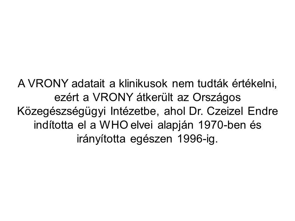 A VRONY adatait a klinikusok nem tudták értékelni, ezért a VRONY átkerült az Országos Közegészségügyi Intézetbe, ahol Dr. Czeizel Endre indította el a