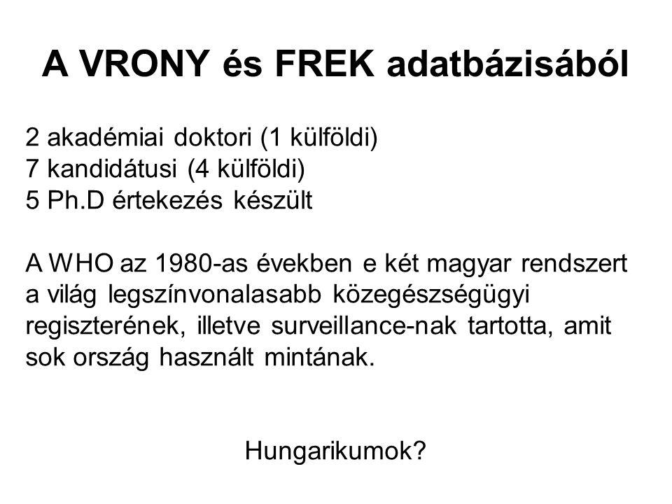 A VRONY és FREK adatbázisából 2 akadémiai doktori (1 külföldi) 7 kandidátusi (4 külföldi) 5 Ph.D értekezés készült A WHO az 1980-as években e két magy
