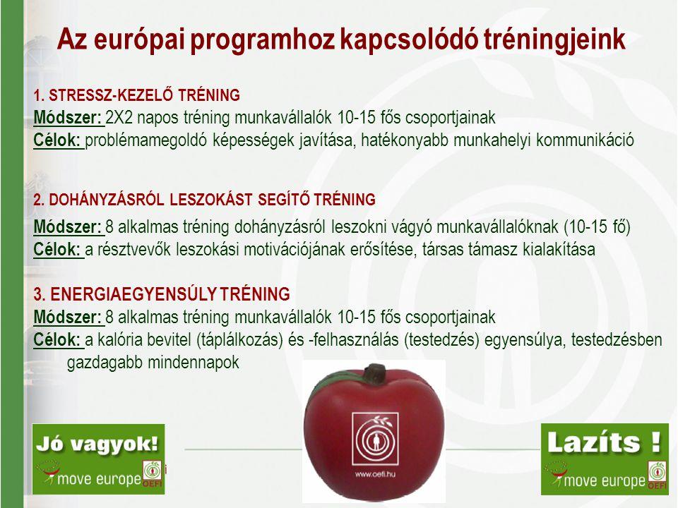 Az európai programhoz kapcsolódó tréningjeink 1. STRESSZ-KEZELŐ TRÉNING Módszer: 2X2 napos tréning munkavállalók 10-15 fős csoportjainak Célok: problé
