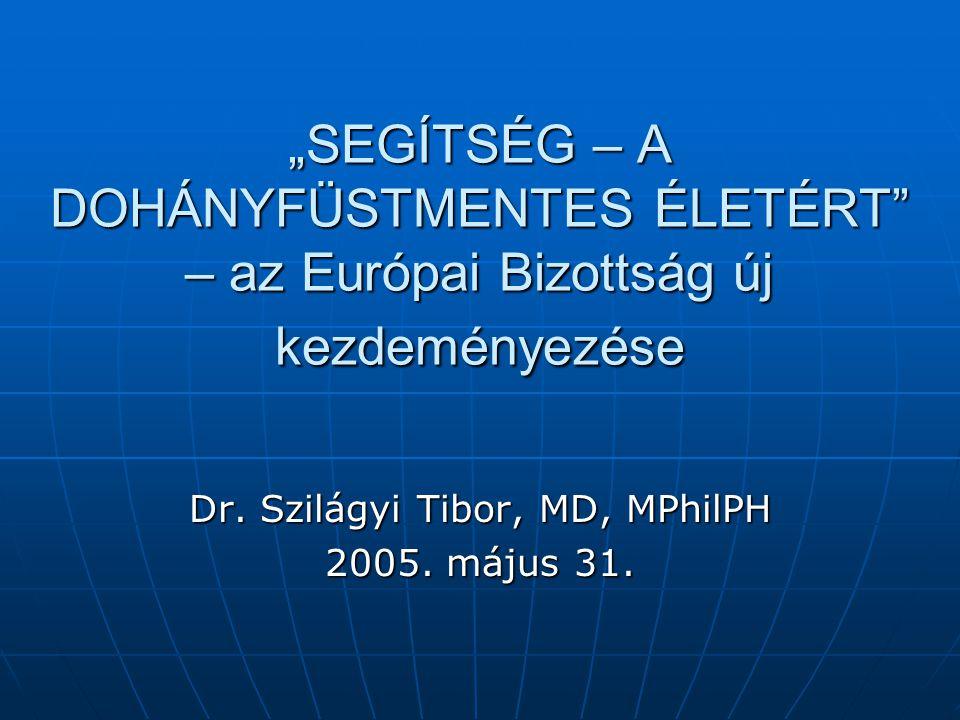 """""""SEGÍTSÉG – A DOHÁNYFÜSTMENTES ÉLETÉRT"""" – az Európai Bizottság új kezdeményezése Dr. Szilágyi Tibor, MD, MPhilPH 2005. május 31."""
