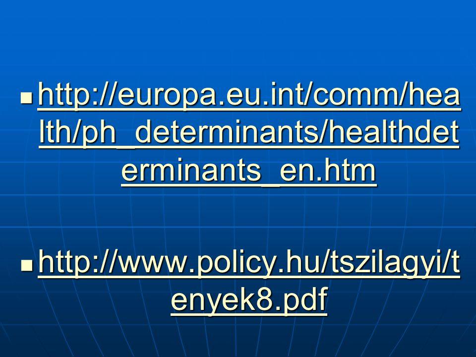 http://europa.eu.int/comm/hea lth/ph_determinants/healthdet erminants_en.htm http://europa.eu.int/comm/hea lth/ph_determinants/healthdet erminants_en.