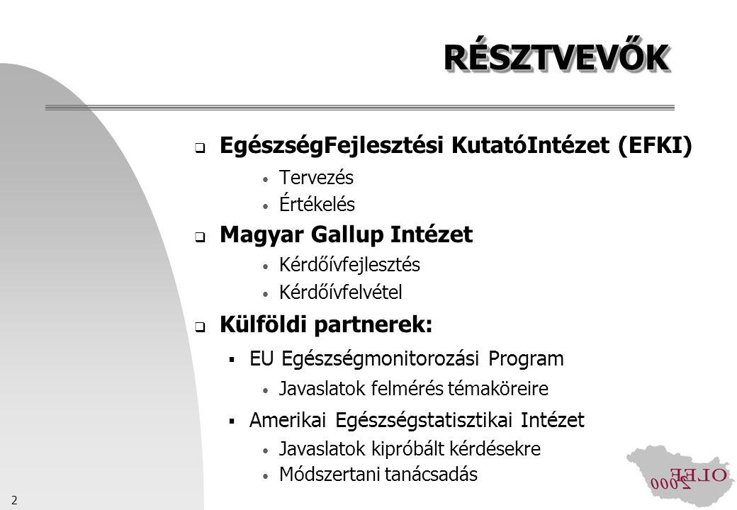 2 RÉSZTVEVŐKRÉSZTVEVŐK  EgészségFejlesztési KutatóIntézet (EFKI) Tervezés Értékelés  Magyar Gallup Intézet Kérdőívfejlesztés Kérdőívfelvétel  Külfö