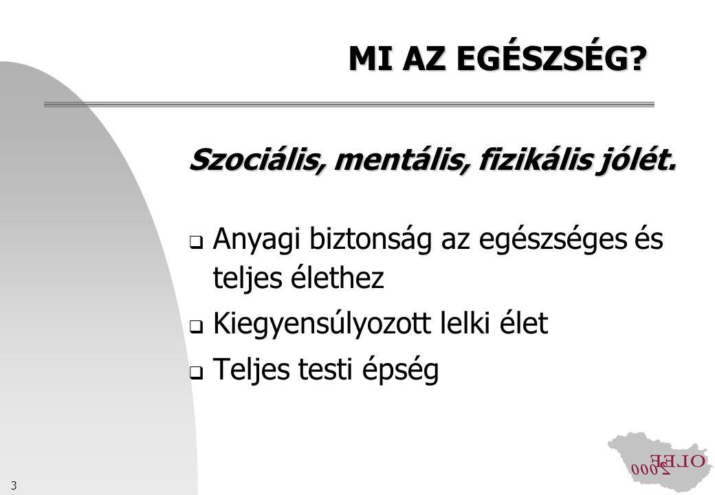 3 MI AZ EGÉSZSÉG? Szociális, mentális, fizikális jólét.  Anyagi biztonság az egészséges és teljes élethez  Kiegyensúlyozott lelki élet  Teljes test
