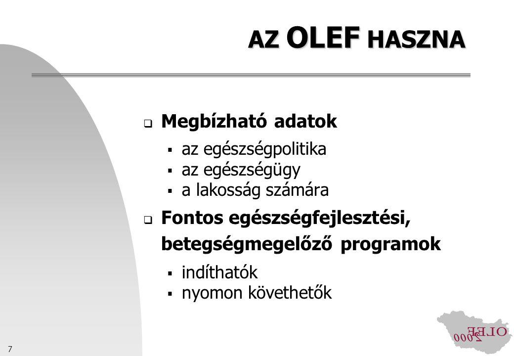 8 AZ OLEF ÜTEMEZÉSE Tervezés: 1999.január-október Próbakérdezések: 2000.