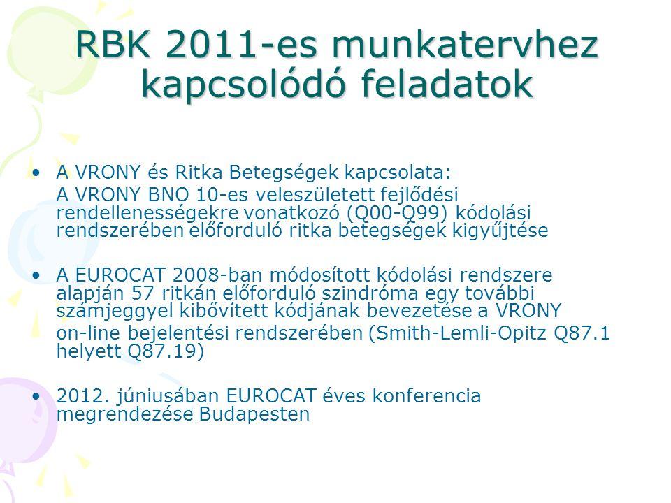 RBK 2011-es munkatervhez kapcsolódó feladatok A VRONY és Ritka Betegségek kapcsolata: A VRONY BNO 10-es veleszületett fejlődési rendellenességekre von
