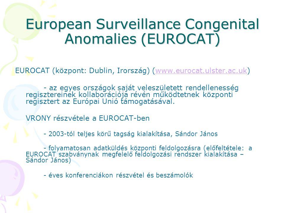European Surveillance Congenital Anomalies (EUROCAT) EUROCAT (központ: Dublin, Irország) (www.eurocat.ulster.ac.uk) - az egyes országok saját veleszül