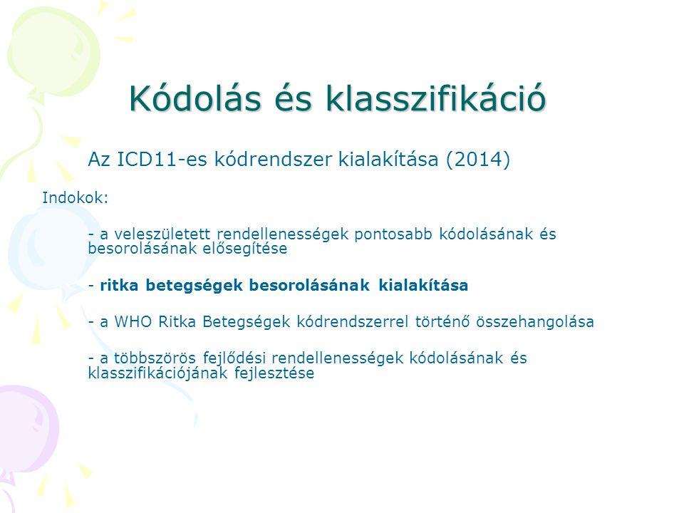 Kódolás és klasszifikáció Az ICD11-es kódrendszer kialakítása (2014) Indokok: - a veleszületett rendellenességek pontosabb kódolásának és besorolásána