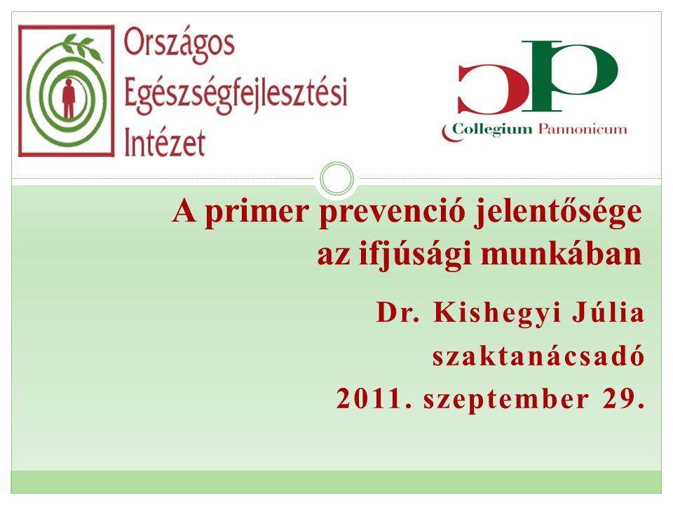 Dr. Kishegyi Júlia szaktanácsadó 2011. szeptember 29. A primer prevenció jelentősége az ifjúsági munkában