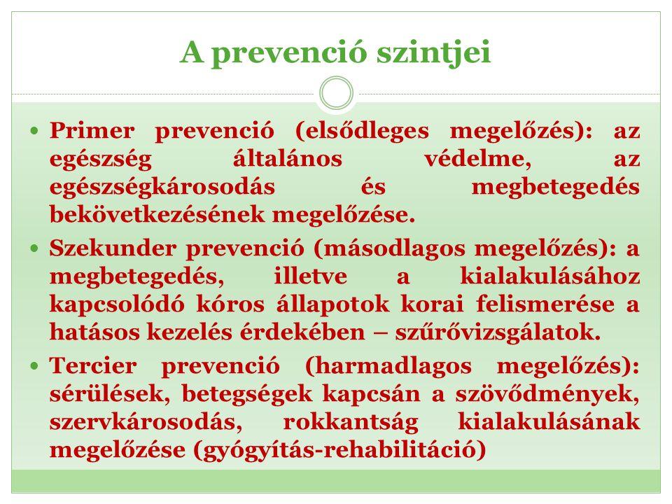 A prevenció szintjei Primer prevenció (elsődleges megelőzés): az egészség általános védelme, az egészségkárosodás és megbetegedés bekövetkezésének meg