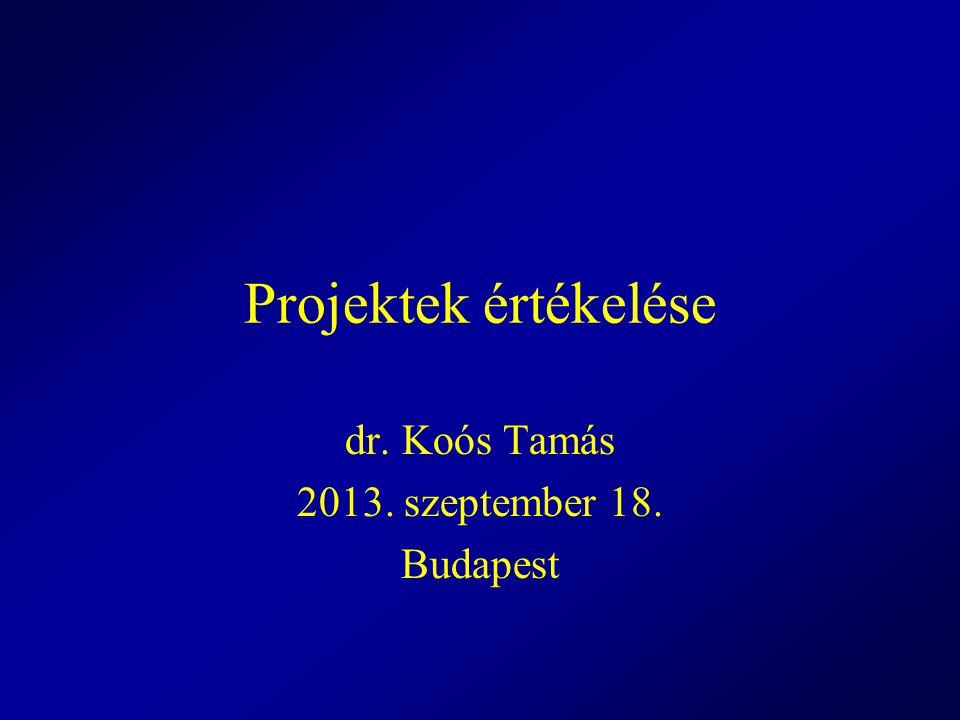 Projektek értékelése dr. Koós Tamás 2013. szeptember 18. Budapest