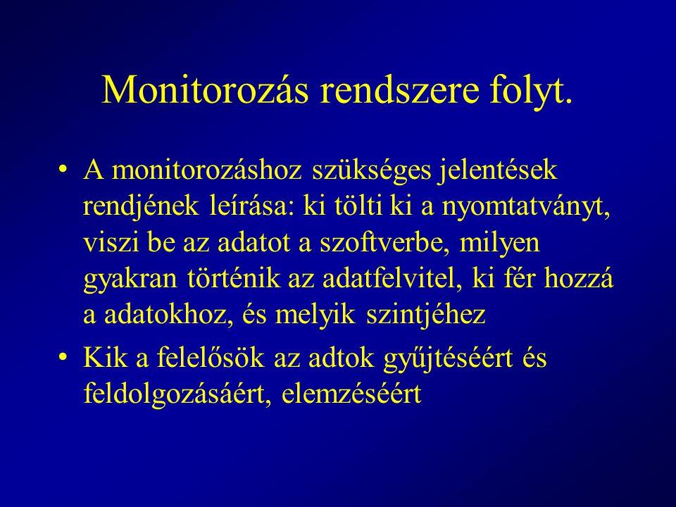 Monitorozás rendszere folyt. A monitorozáshoz szükséges jelentések rendjének leírása: ki tölti ki a nyomtatványt, viszi be az adatot a szoftverbe, mil