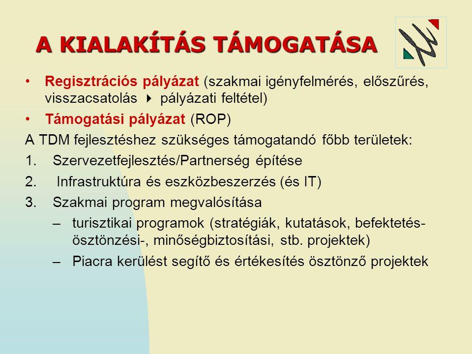 A KIALAKÍTÁS TÁMOGATÁSA Regisztrációs pályázat (szakmai igényfelmérés, előszűrés, visszacsatolás  pályázati feltétel) Támogatási pályázat (ROP) A TDM