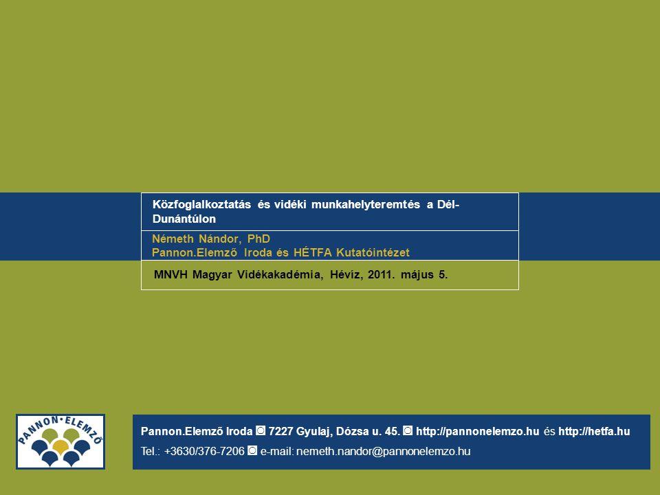 Közfoglalkoztatás és vidéki munkahelyteremtés a Dél- Dunántúlon Németh Nándor, PhD Pannon.Elemző Iroda és HÉTFA Kutatóintézet Pannon.Elemző Iroda ◙ 72