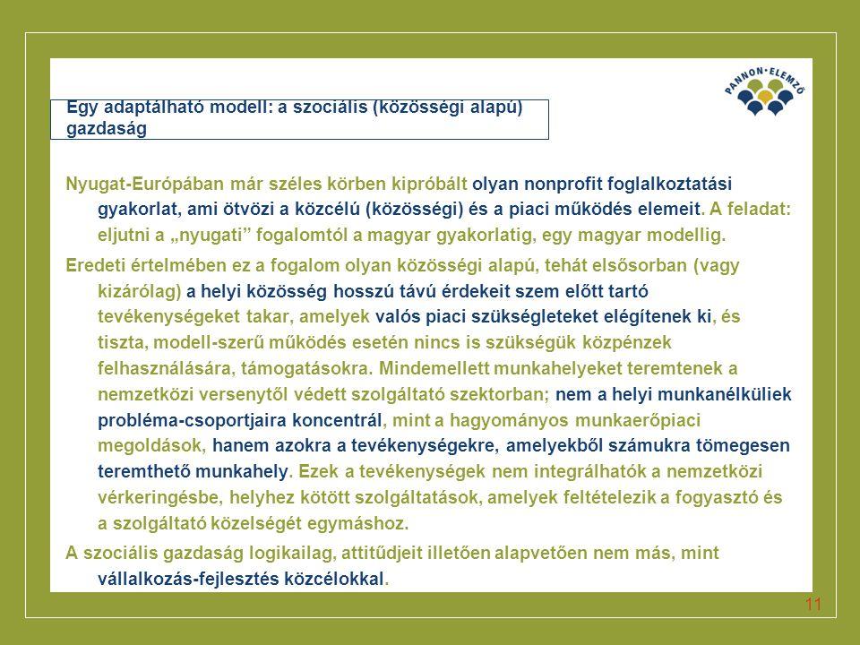 Click to edit Master title style 11 Egy adaptálható modell: a szociális (közösségi alapú) gazdaság Nyugat-Európában már széles körben kipróbált olyan