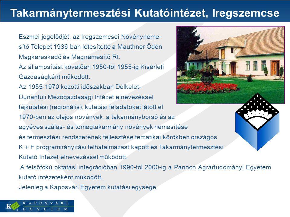 Eszmei jogelődjét, az Iregszemcsei Növényneme- sítő Telepet 1936-ban létesítette a Mauthner Ödön Magkereskedő és Magnemesítő Rt.