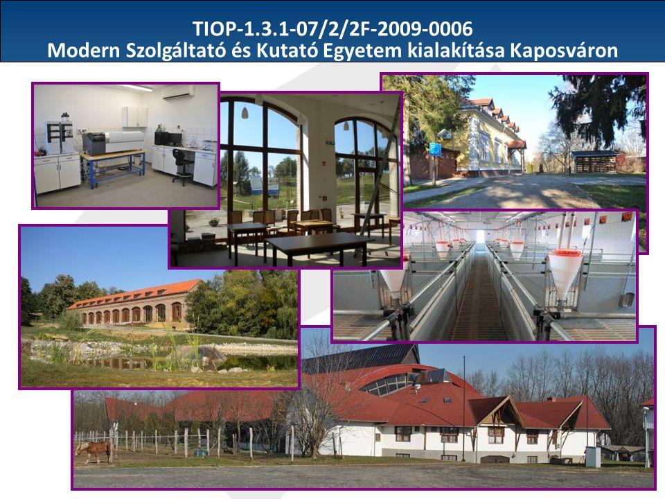 TIOP-1.3.1-07/2/2F-2009-0006 Modern Szolgáltató és Kutató Egyetem kialakítása Kaposváron