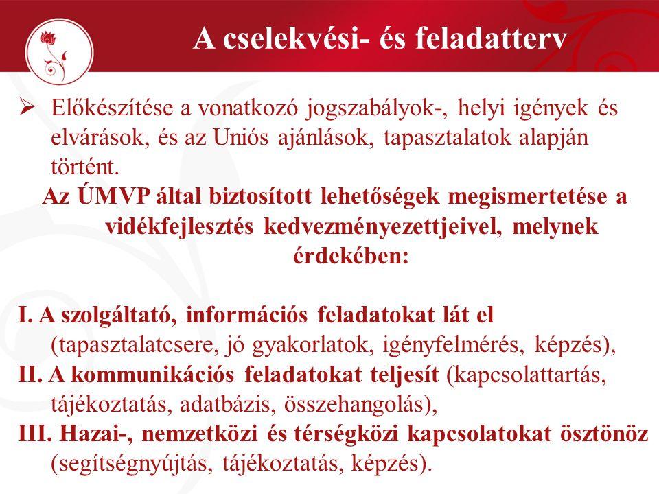 """A hálózat legfontosabb eszközei, """"tervezett szolgáltatásai A cselekvési terv szerint:  Interaktív, online szolgáltatások (www.mnvh.eu);www.mnvh.eu  Képzési- és szaktanácsadási rendszer (animáció, szemináriumok);  Nemzetközi és térségközi együttműködések adatbázisa;  Tapasztalat-, tudás- és kutatás tár;  Véleményalkotás lehetőségének biztosítása;  Szakértelem, tapasztalatcsere biztosítása;  Legjobb/ jó gyakorlatok azonosítása, hálózatának kiépítése;  Igényfelmérések,elemzések;  Publikációk, hírlevelek."""