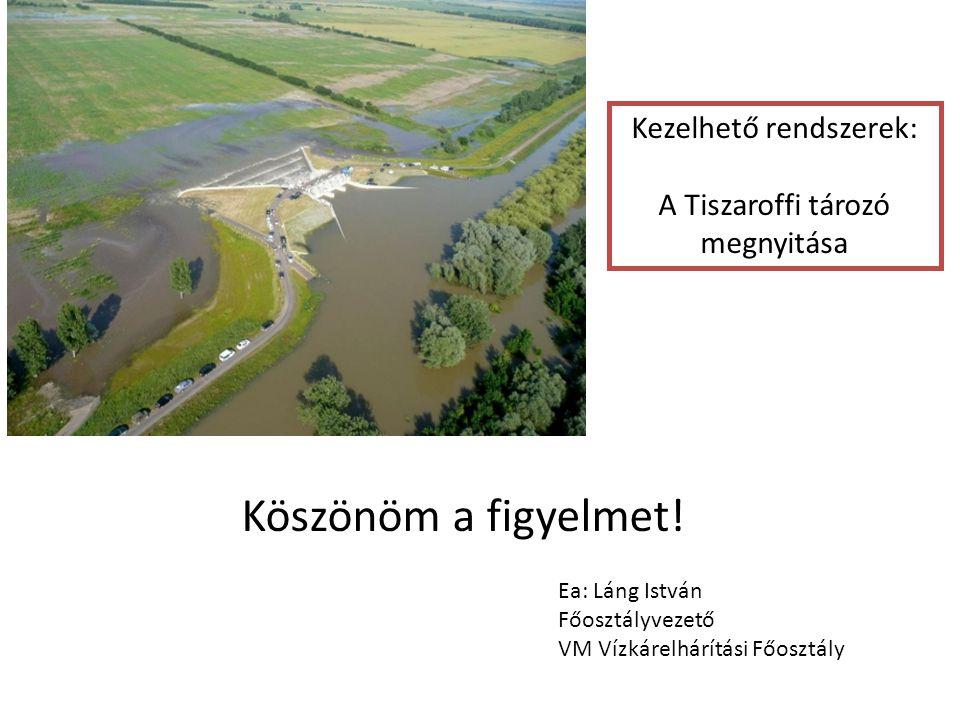 Köszönöm a figyelmet! Ea: Láng István Főosztályvezető VM Vízkárelhárítási Főosztály Kezelhető rendszerek: A Tiszaroffi tározó megnyitása