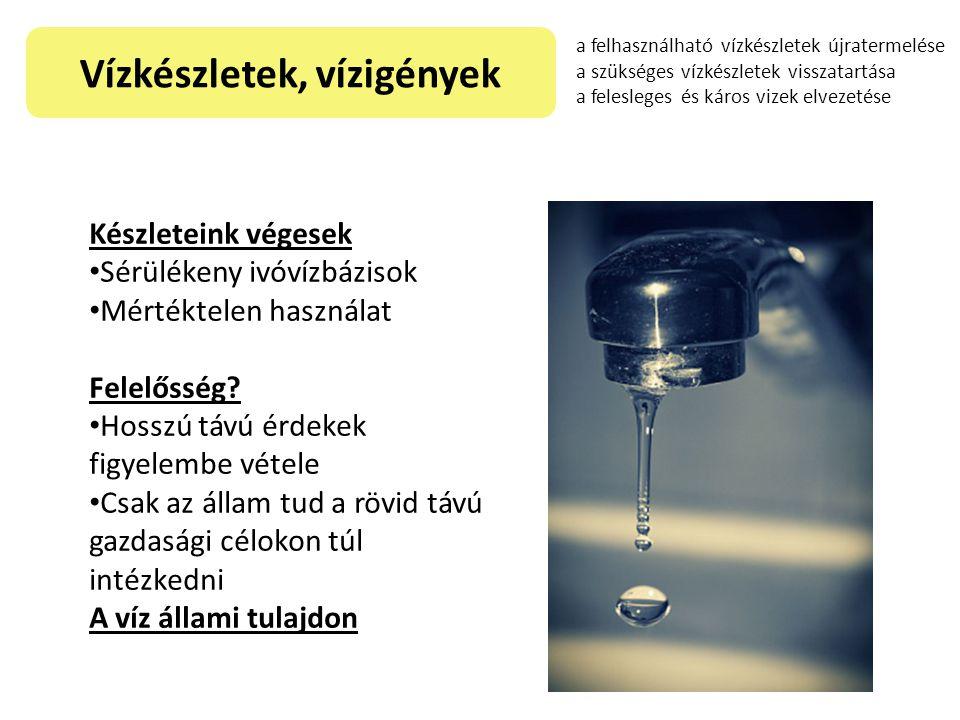 Vízkészletek, vízigények Készleteink végesek Sérülékeny ivóvízbázisok Mértéktelen használat Felelősség? Hosszú távú érdekek figyelembe vétele Csak az