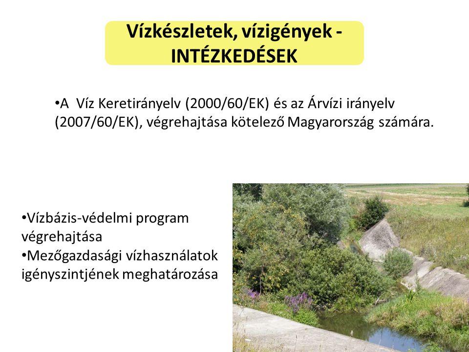 Vízkészletek, vízigények - INTÉZKEDÉSEK A Víz Keretirányelv (2000/60/EK) és az Árvízi irányelv (2007/60/EK), végrehajtása kötelező Magyarország számára.