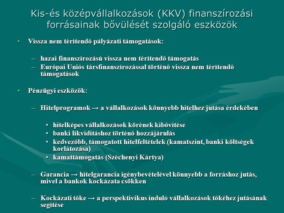 Kis-és középvállalkozások (KKV) finanszírozási forrásainak bővülését szolgáló eszközök Vissza nem térítendő pályázati támogatások:Vissza nem térítendő