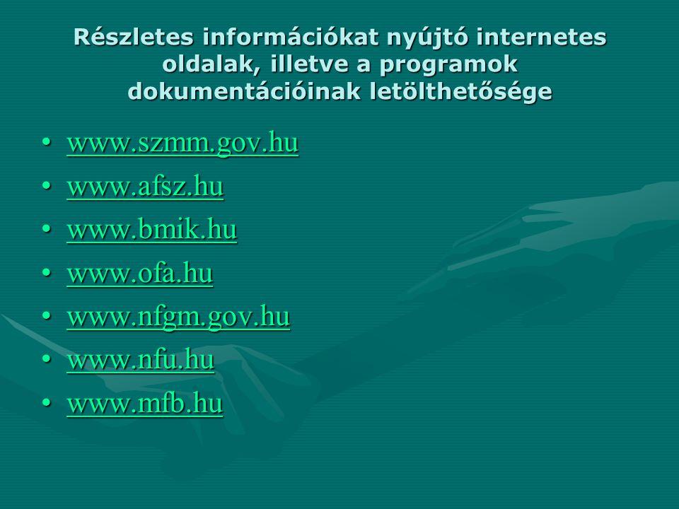 Részletes információkat nyújtó internetes oldalak, illetve a programok dokumentációinak letölthetősége www.szmm.gov.huwww.szmm.gov.huwww.szmm.gov.hu w