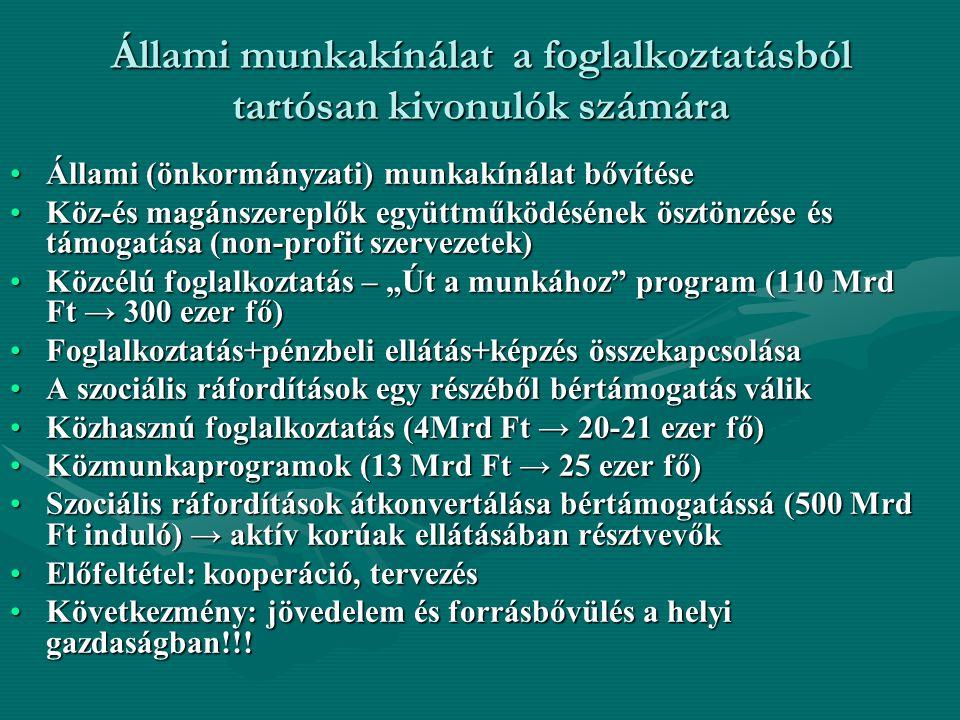 Állami munkakínálat a foglalkoztatásból tartósan kivonulók számára Állami (önkormányzati) munkakínálat bővítéseÁllami (önkormányzati) munkakínálat bőv