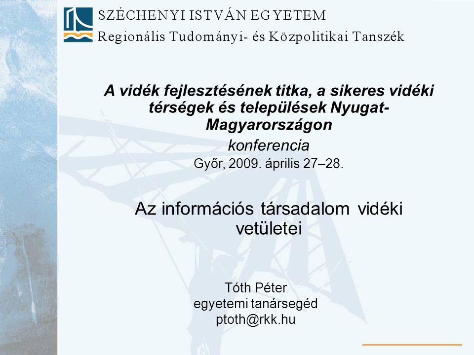 A vidék fejlesztésének titka, a sikeres vidéki térségek és települések Nyugat- Magyarországon konferencia Győr, 2009.