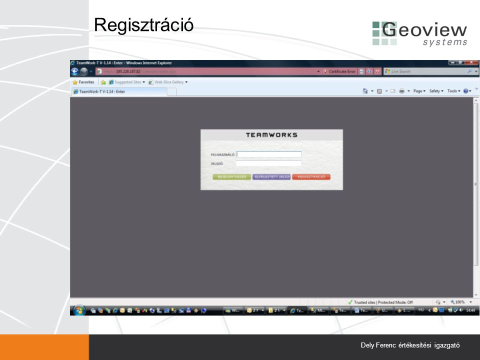 Regisztráció Dely Ferenc értékesítési igazgató