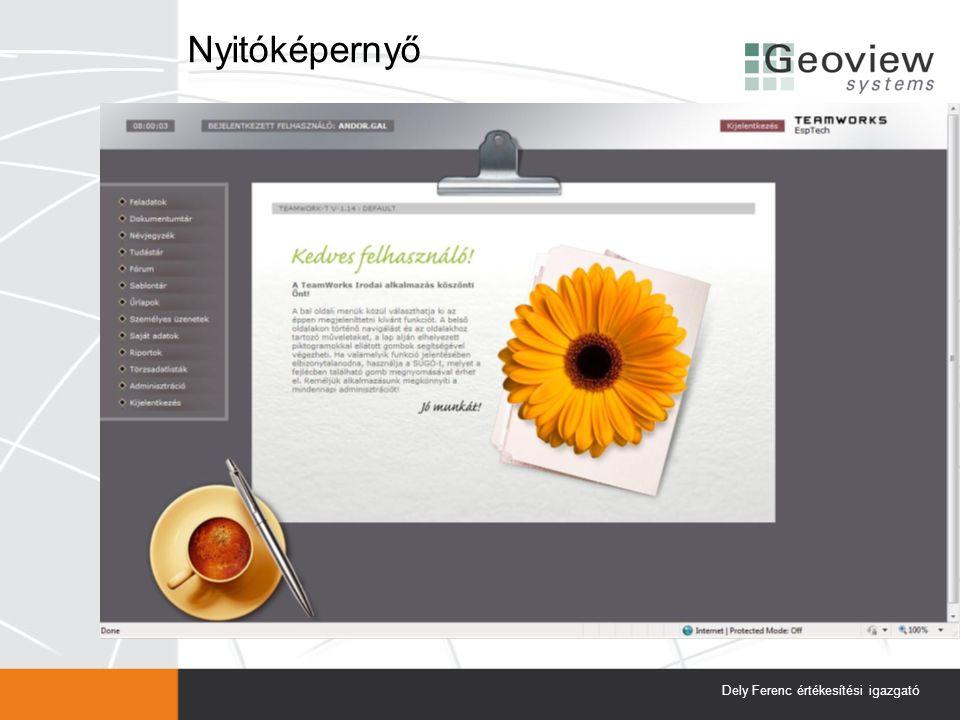 Nyitóképernyő Dely Ferenc értékesítési igazgató