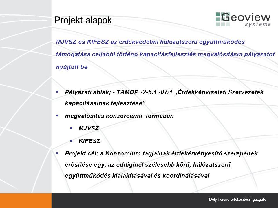 """Projekt alapok MJVSZ és KIFESZ az érdekvédelmi hálózatszerű együttműködés támogatása céljából történő kapacitásfejlesztés megvalósításra pályázatot nyújtott be  Pályázati ablak; - TAMOP -2-5.1 -07/1 """"Érdekképviseleti Szervezetek kapacitásainak fejlesztése  megvalósítás konzorciumi formában  MJVSZ  KIFESZ  Projekt cél; a Konzorcium tagjainak érdekérvényesítő szerepének erősítése egy, az eddiginél szélesebb körű, hálózatszerű együttműködés kialakításával és koordinálásával Dely Ferenc értékesítési igazgató"""