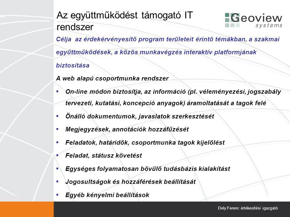 Az együttműködést támogató IT rendszer Célja az érdekérvényesítő program területeit érintő témákban, a szakmai együttműködések, a közös munkavégzés interaktív platformjának biztosítása A web alapú csoportmunka rendszer  On-line módon biztosítja, az információ (pl.