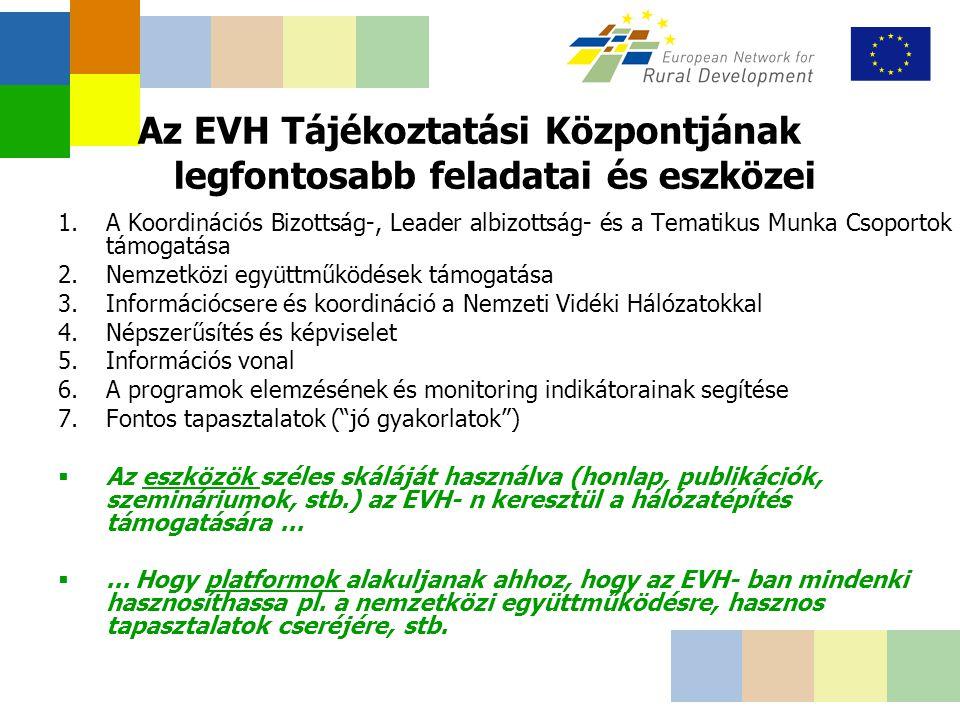 Az EVH Tájékoztatási Központjának legfontosabb feladatai és eszközei 1.A Koordinációs Bizottság-, Leader albizottság- és a Tematikus Munka Csoportok támogatása 2.Nemzetközi együttműködések támogatása 3.Információcsere és koordináció a Nemzeti Vidéki Hálózatokkal 4.Népszerűsítés és képviselet 5.Információs vonal 6.A programok elemzésének és monitoring indikátorainak segítése 7.Fontos tapasztalatok ( jó gyakorlatok )  Az eszközök széles skáláját használva (honlap, publikációk, szemináriumok, stb.) az EVH- n keresztül a hálózatépítés támogatására...