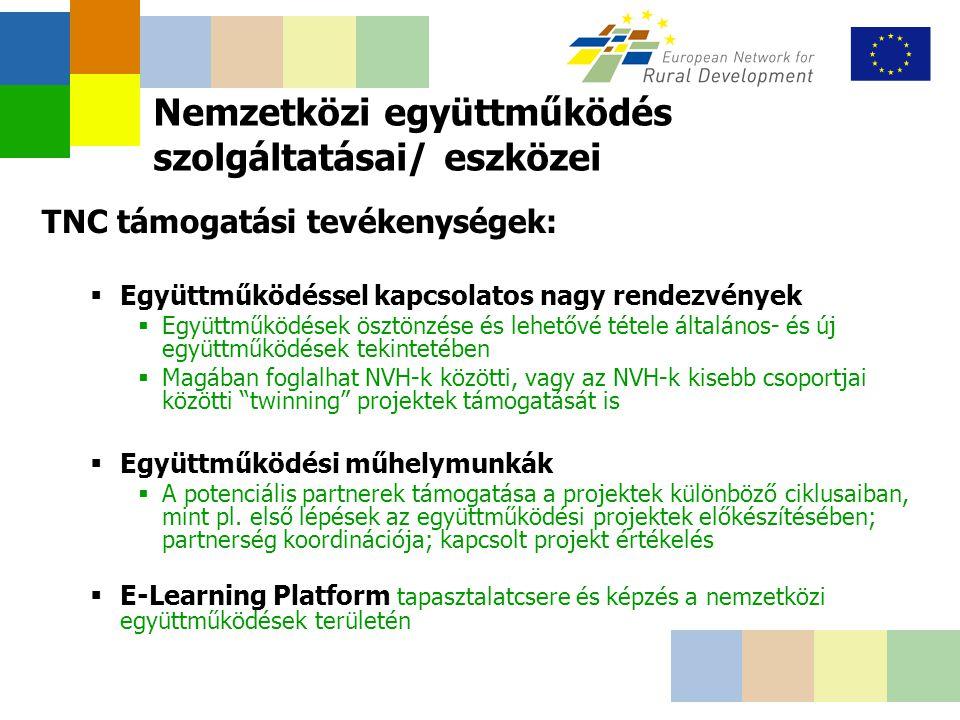 TNC támogatási tevékenységek:  Együttműködéssel kapcsolatos nagy rendezvények  Együttműködések ösztönzése és lehetővé tétele általános- és új együttműködések tekintetében  Magában foglalhat NVH-k közötti, vagy az NVH-k kisebb csoportjai közötti twinning projektek támogatását is  Együttműködési műhelymunkák  A potenciális partnerek támogatása a projektek különböző ciklusaiban, mint pl.