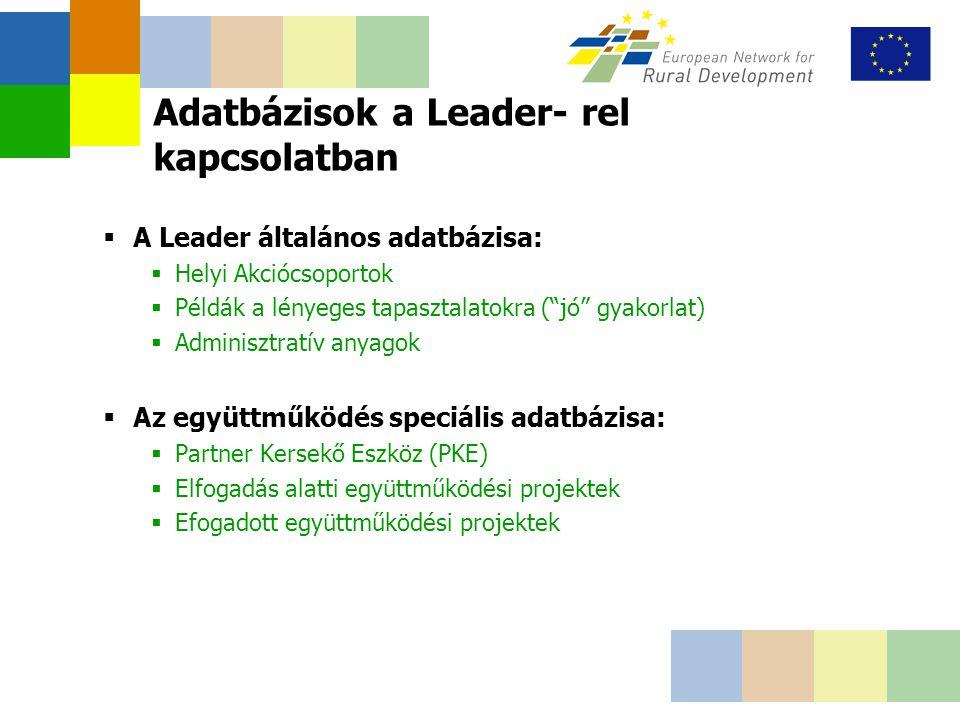 Adatbázisok a Leader- rel kapcsolatban  A Leader általános adatbázisa:  Helyi Akciócsoportok  Példák a lényeges tapasztalatokra ( jó gyakorlat)  Adminisztratív anyagok  Az együttműködés speciális adatbázisa:  Partner Kersekő Eszköz (PKE)  Elfogadás alatti együttműködési projektek  Efogadott együttműködési projektek