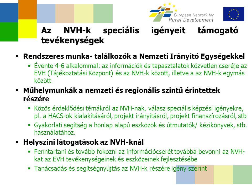 Az NVH-k speciális igényeit támogató tevékenységek  Rendszeres munka- találkozók a Nemzeti Irányító Egységekkel  Évente 4-6 alkalommal: az információk és tapasztalatok közvetlen cseréje az EVH (Tájékoztatási Központ) és az NVH-k között, illetve a az NVH-k egymás között  Műhelymunkák a nemzeti és regionális szintű érintettek részére  Közös érdeklődési témákról az NVH-nak, válasz speciális képzési igényekre, pl.