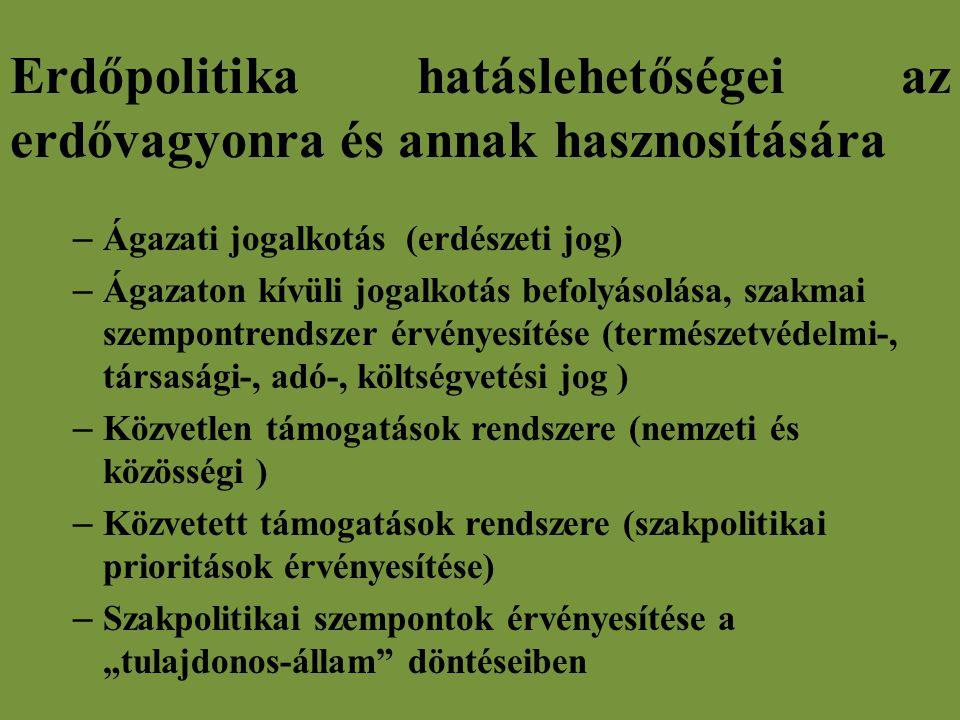 """Erdőpolitika hatáslehetőségei az erdővagyonra és annak hasznosítására – Ágazati jogalkotás (erdészeti jog) – Ágazaton kívüli jogalkotás befolyásolása, szakmai szempontrendszer érvényesítése (természetvédelmi-, társasági-, adó-, költségvetési jog ) – Közvetlen támogatások rendszere (nemzeti és közösségi ) – Közvetett támogatások rendszere (szakpolitikai prioritások érvényesítése) – Szakpolitikai szempontok érvényesítése a """"tulajdonos-állam döntéseiben"""